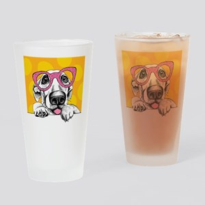 Hipster Dog Drinking Glass