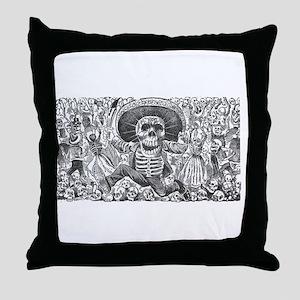 Skull from Oaxaca by Posada Throw Pillow