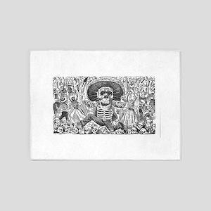 Skull from Oaxaca by Posada 5'x7'Area Rug