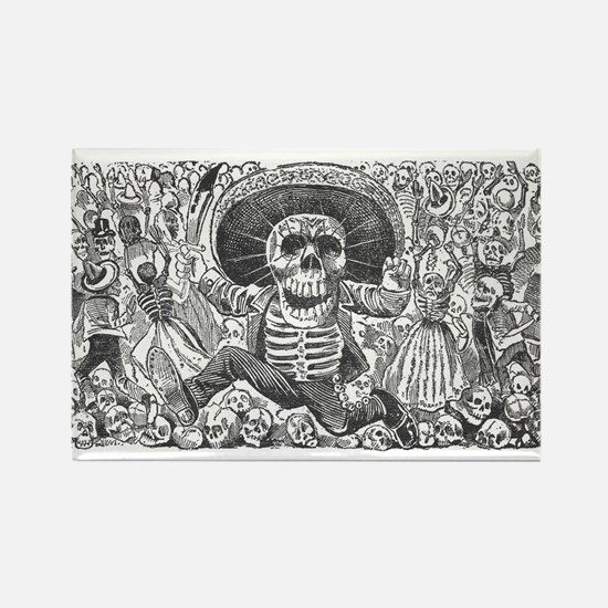 Skull from Oaxaca by Posada Rectangle Magnet