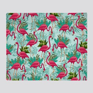 Pink Flamingos Fabric Pattern Throw Blanket
