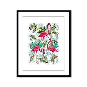 Pink Flamingos Fabric Pattern Framed Panel Print