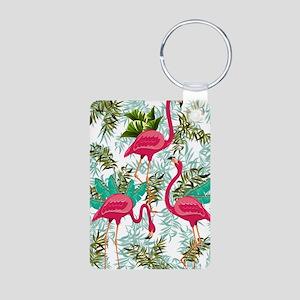 Pink Flamingos Fabric Pattern Keychains