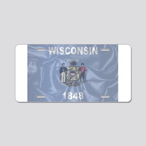 Wisconsin State Silk Flag Aluminum License Plate