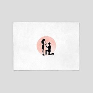 Cartoon couple proposing art 5'x7'Area Rug