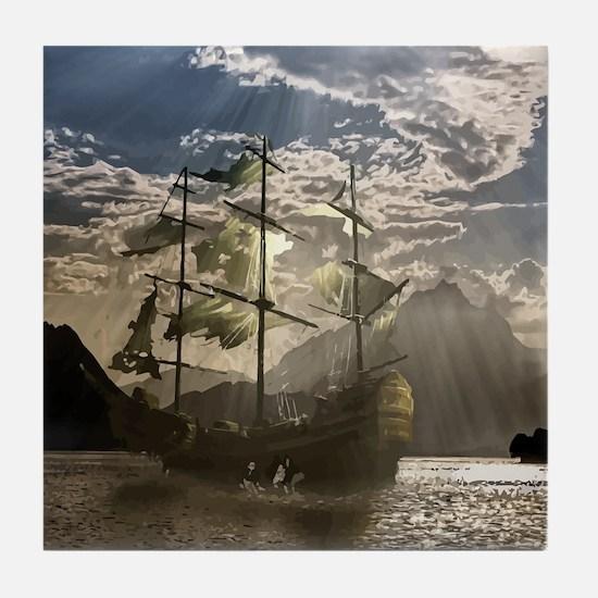Spooky Pirate Ship in Beautiful Ocean Tile Coaster