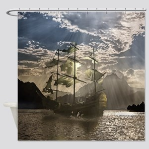 Spooky Pirate Ship in Beautiful Oce Shower Curtain