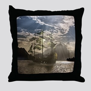 Spooky Pirate Ship in Beautiful Ocean Throw Pillow