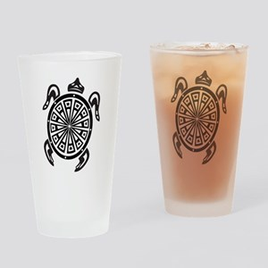 Decorative turtle line art Drinking Glass