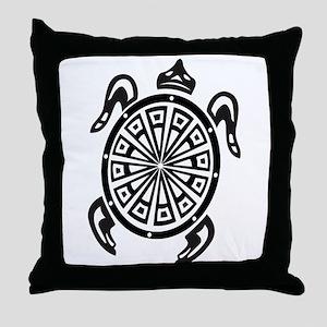 Decorative turtle line art Throw Pillow