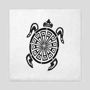 Decorative turtle line art Queen Duvet