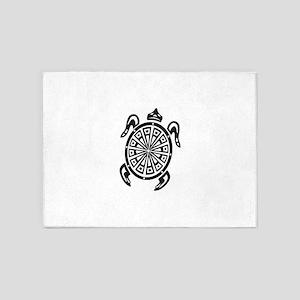 Decorative turtle line art 5'x7'Area Rug