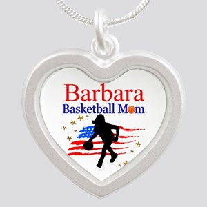 BASKETBALL MOM Silver Heart Necklace