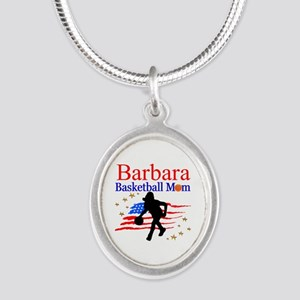 BASKETBALL MOM Silver Oval Necklace