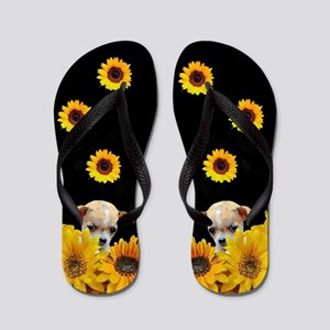 Chihuahua in Sunflowers Flip Flops