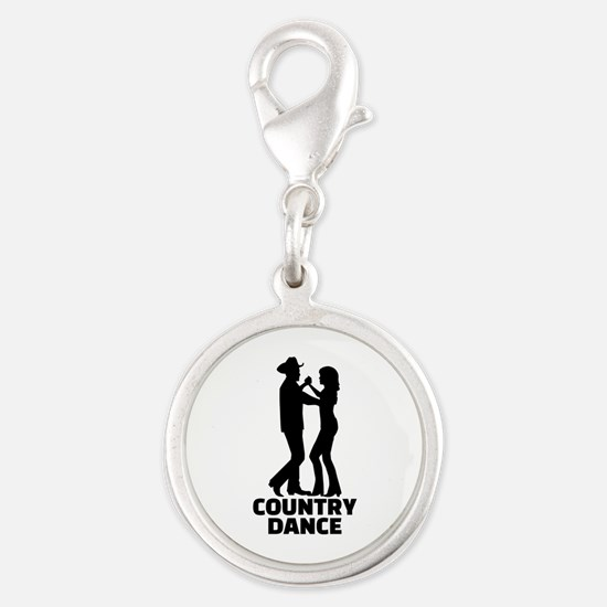 Country dance Silver Round Charm