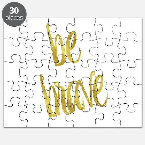 Be Brave Gold Faux Foil Metallic Glitter Qu Puzzle