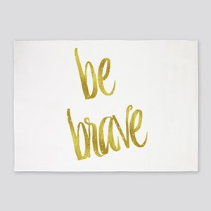 Be Brave Gold Faux Foil Metallic Gl 5'x7'Area Rug