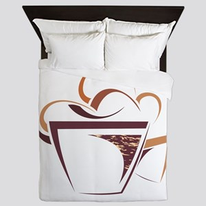 Coffee cup line art Queen Duvet