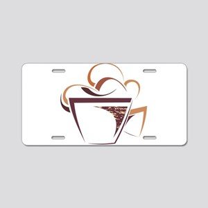 Coffee cup line art Aluminum License Plate