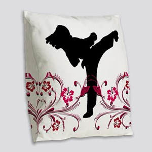 Martial Arts Burlap Throw Pillow