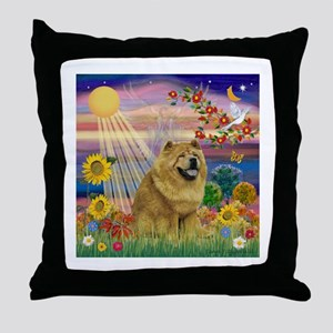 Autumn Angel & Chow Throw Pillow