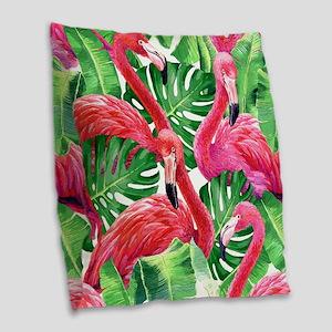 Flamingo Burlap Throw Pillow