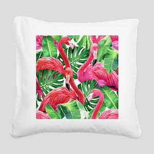 Flamingo Square Canvas Pillow