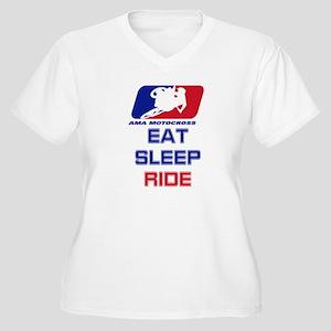 eat sleep ride Women's Plus Size V-Neck T-Shirt