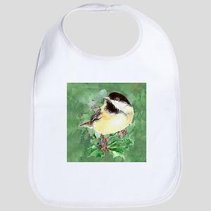Cute Watercolor Chickadee Holly Berry Christma Bib