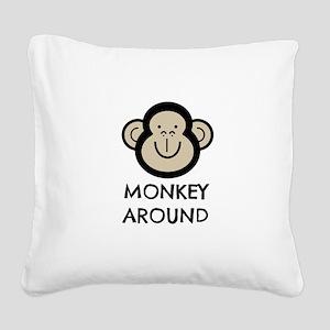 Monkey Around Square Canvas Pillow