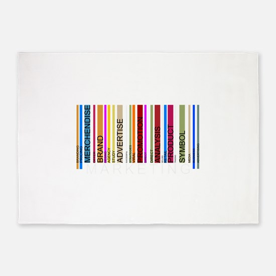 Colorful barcode graphic 5'x7'Area Rug