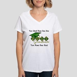 Graduate Green 2017 Women's V-Neck T-Shirt