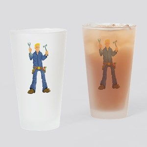 Maintenance man with wrench Drinking Glass