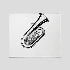 Musical instrument tuba design Throw Blanket