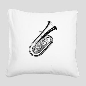 Musical instrument tuba desig Square Canvas Pillow