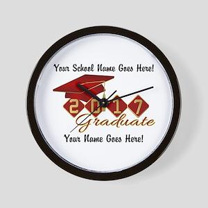 Graduate Red 2017 Wall Clock