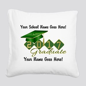 Graduate Green 2017 Square Canvas Pillow