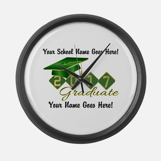 Graduate Green 2017 Large Wall Clock