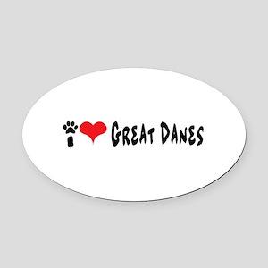 I love Great Danes. Oval Car Magnet