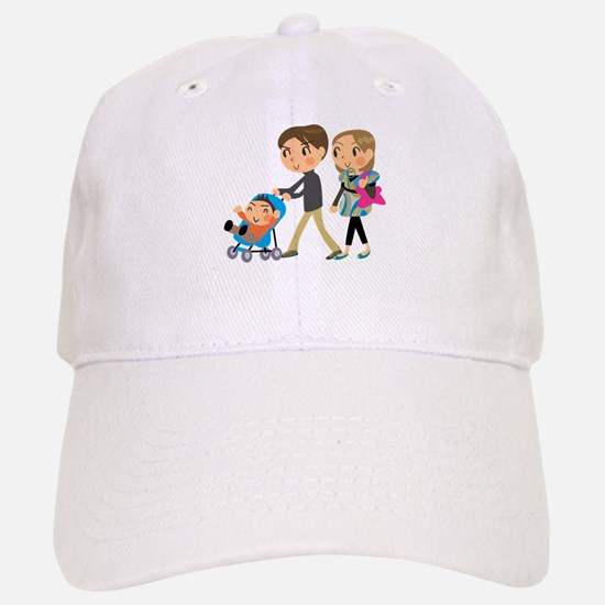 Family with Baby in buggy Baseball Baseball Cap