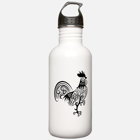 Hand drawn rooster dec Water Bottle