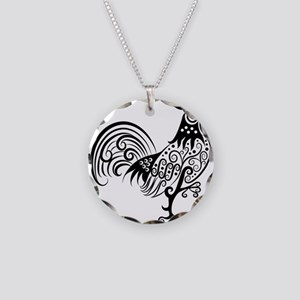 Hand drawn rooster decoratio Necklace Circle Charm