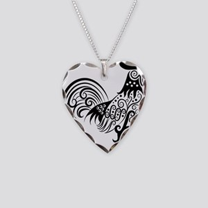 Hand drawn rooster decoration Necklace Heart Charm