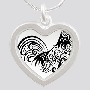 Hand drawn rooster decoration pattern Necklaces