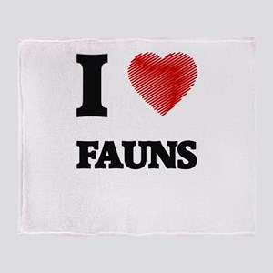 I love Fauns Throw Blanket