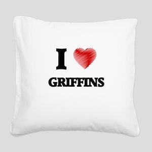 I love Griffins Square Canvas Pillow