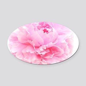pink peony Oval Car Magnet