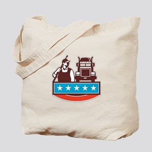 Pressure Washer Worker Truck USA Flag Retro Tote B