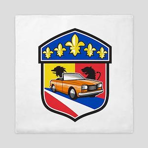 Vintage Cabriolet Fleur-de-Lis Crest Retro Queen D